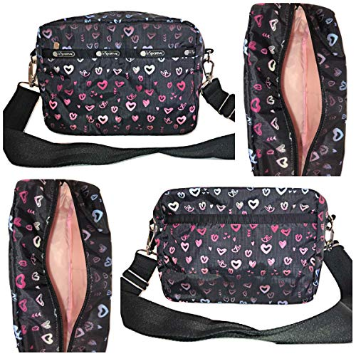 LeSportsac Heart Beat Austin Crossbody Handbag Detachable/Adjustable/Interchangeable Strap Metal Hardware, Style 2435/Color D995