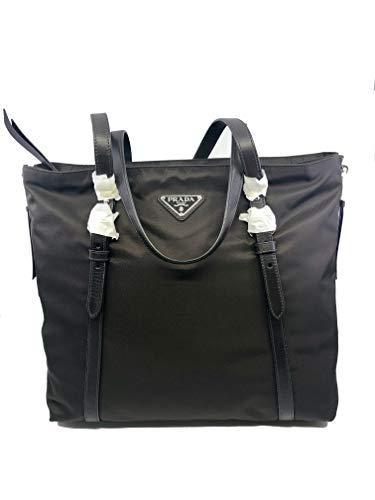 Prada Brown Tessuto Nylon Soft Calf Leather Trim Shopping Tote Handbag 1BG228
