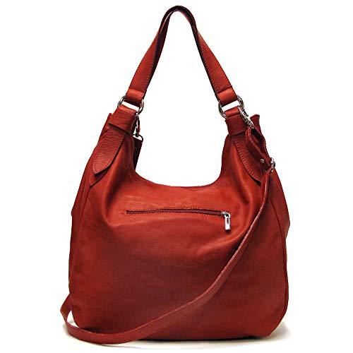 Siena Leather Hobo Shoulder Bag in Red