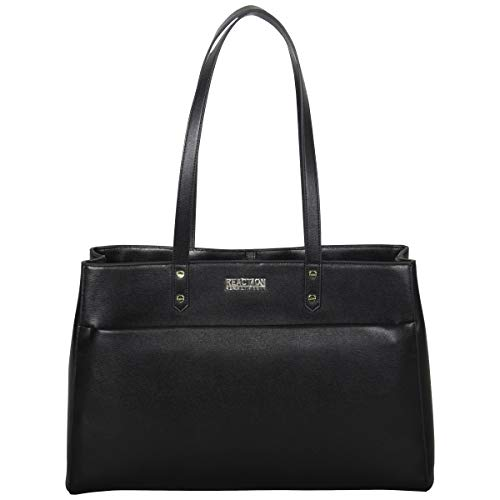 Kenneth Cole Reaction Women's Downtown Darling Faux Leather Dual Compartment 15″ Laptop Tote, Black
