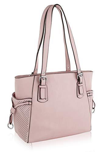 MKF Shoulder Handbag for Women: Vegan Leather Satchel-Tote Bag, Top-Handle Purse, Ladies Pocketbook Pink