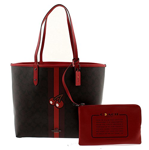Coach PAC-MAN Signature Cherry Reversible City Tote & Travel Pouch, F57278 QBL72