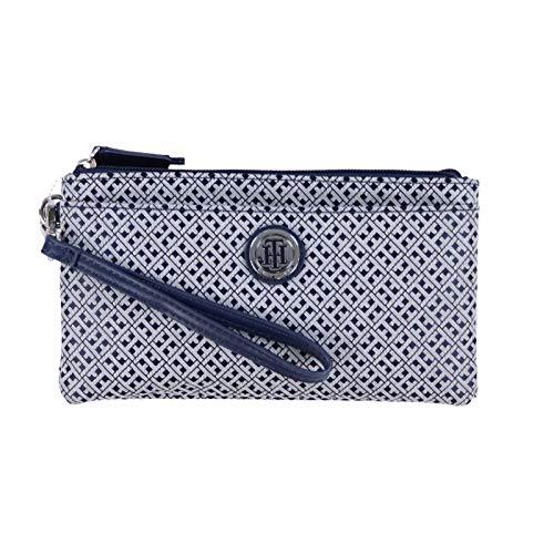 Tommy Hilfiger Women's Logo Double Zip Wristlet Wallet Bag