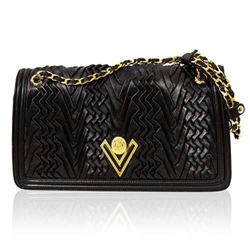 Valentino Orlandi Italian Designer Black Pleated Draped Leather Shoulder Bag