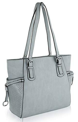 MKF Shoulder Handbag for Women: Vegan Leather Satchel-Tote Bag, Top-Handle Purse, Ladies Pocketbook Light Blue