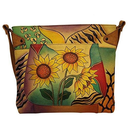 Anna by Anuschka, Handpainted Leather Medium Convertible Tote, Sunflower Safari