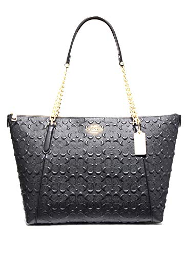Coach 49499 Signature Leather Ava Chain Tote Black, Large