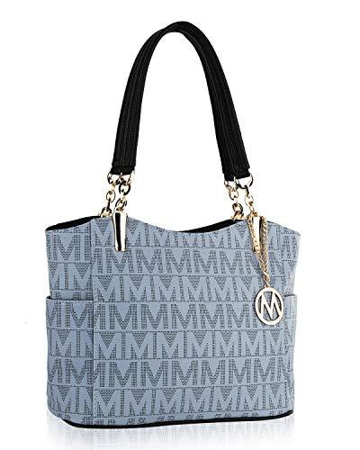 MKF Shoulder Handbag for Women: Vegan Leather Satchel-Tote Bag, Top-Handle Purse, Ladies Pocketbook Grey