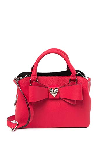 Betsey Johnson Over Sized Double Bow XOXO Betsey Heart Charm Triple Entry Red Small Satchel Shoulder Bag