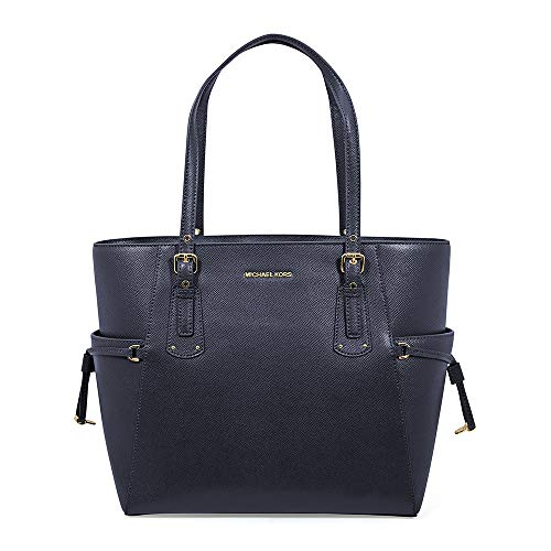 Michael Kors Voyager Textured Crossgrain Leather Tote- Admiral