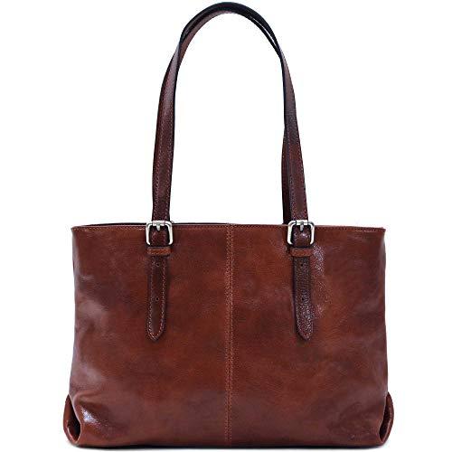 Floto Venezia Italian Leather Shopping Tote Bag Shoulder Bag Women's (Vecchio Brown)