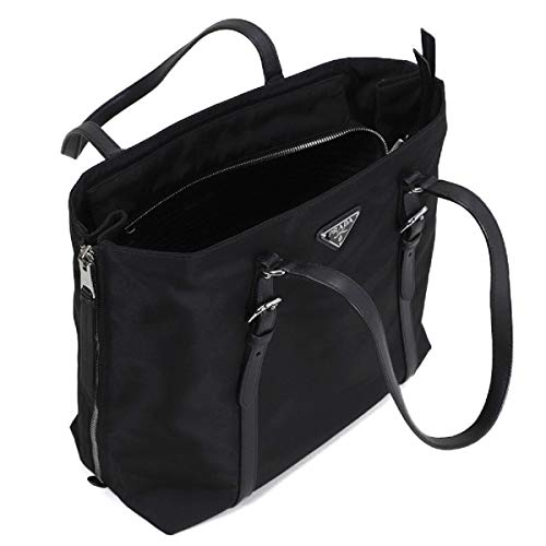 Prada Black Tessuto Nylon Soft Calf Leather Trim Shopping Tote Handbag 1BG228