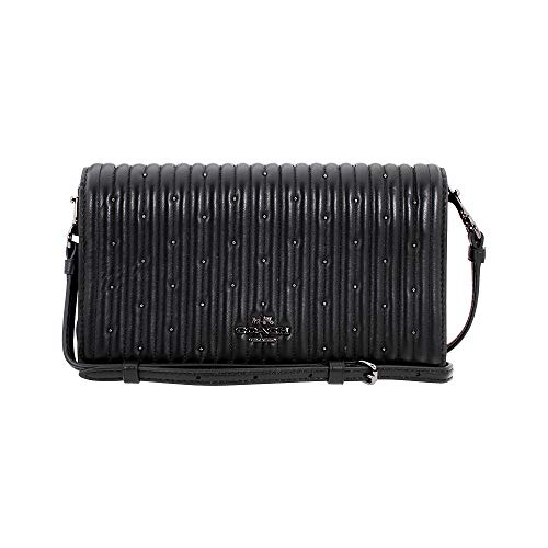 Coach Hayden Foldover Crossbody Clutch With Quilting And Rivets 27057 DKBLK
