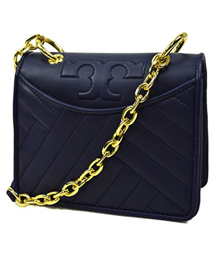 Tory Burch Womens Soft Quilted Leather Alexa Foldable Chain Mini Card Case Shoulder Handbag Purse Royal Navy