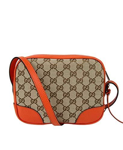Gucci Women's Beige/Ebony GG Canvas Small Camera Bag With Orange Leather 449413 9800