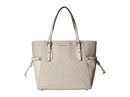 MICHAEL Michael Kors Voyager Logo Jacquard Tote Bag , Natural Light Cream