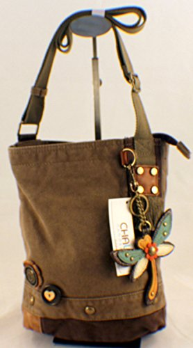 Chala Patch Cross-Body Women Handbag, Canvas Messenger Bag – Dragonfly – Olive