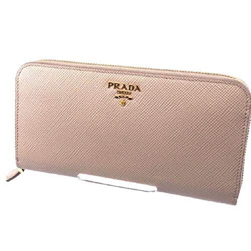 Prada Portafoglio Lampo Cipria Beige Saffiano Cuir Leather Full Zip Wallet 1ML506