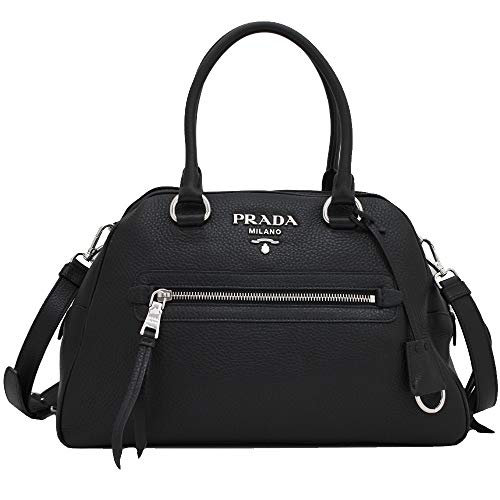 Prada Womens Vitello Phenix Black Leather Satchel Handbag 1BB054