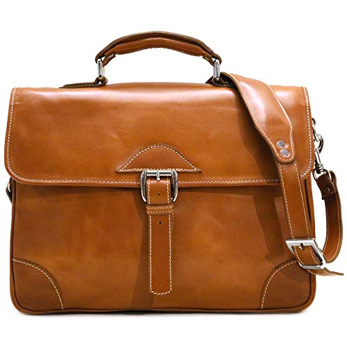 Floto Cortona Roller Buckle Briefcase Messenger Bag in Brown Tempesti Leather