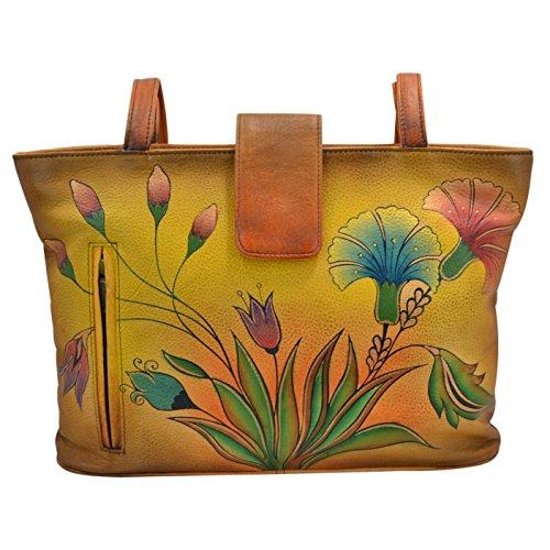 Anna by Anuschka GenuineLeatherTote Bag Hand-Painted Original Artwork, Turkish Garden