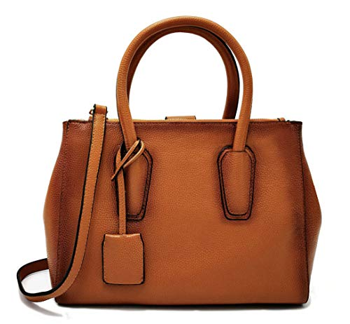 La Poet Women's Genuine Leather 2-Way Double Zip Top Handle Handbag Satchel Shoulder Bag Purse