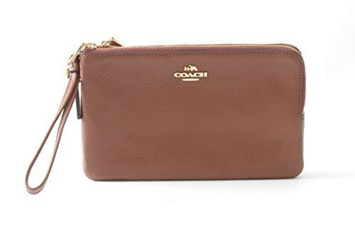Coach Double Zip Pebble Leather Wristlet Wallet