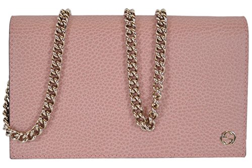 Gucci Women's Leather Interlocking GG Crossbody Wallet Purse (466506/Soft Pink)