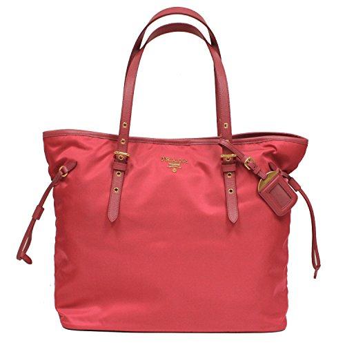 Prada Tessuto Saffian Pink Nylon Leather Shopping Tote Shoulder Bag Large BR4997