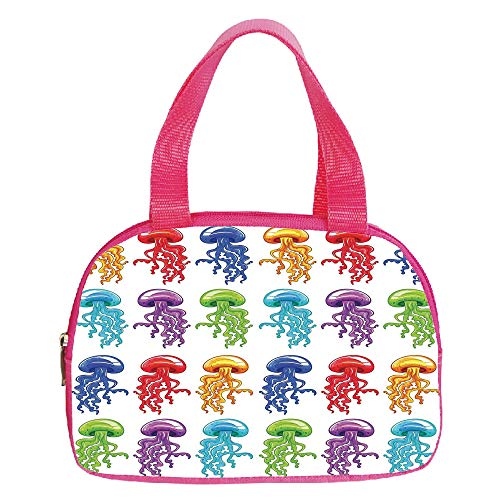 Vogue Small Handbag Pink,Jellyfish,Colorful Jellyfish Collection Artwork with Vibrant Colors Childish Design Print,Red Yellow Blue,for Girls,Diversified Design.6.3″x9.4″x1.6″