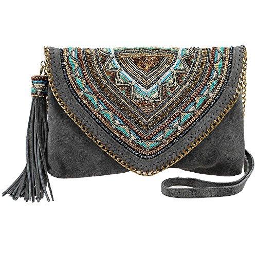 MARY FRANCES Ego Boost Embellished Suede Crossbody Handbag