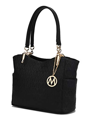 MKF Shoulder Handbag for Women: Vegan Leather Satchel-Tote Bag, Top-Handle Purse, Ladies Pocketbook Black