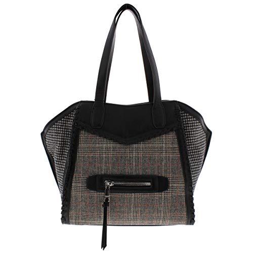 BCBGeneration Womens Aubry Wool Houndstooth Trapeze Handbag Black Large