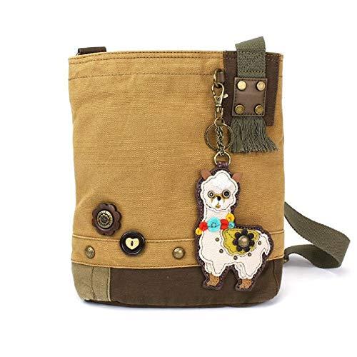 Chala Handbag Patch Crossbody Messenger Bag Canvas Llama Brown