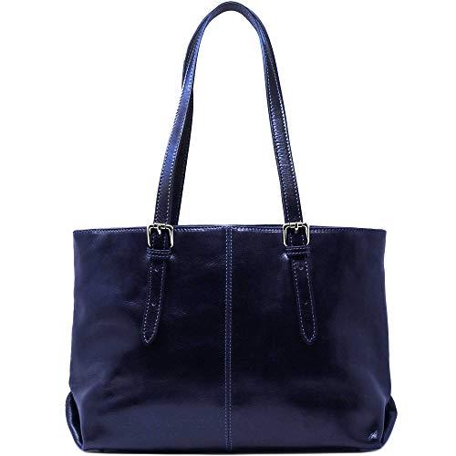 Floto Venezia Italian Leather Shopping Tote Bag Shoulder Bag Women's (Dark Viola Blue)