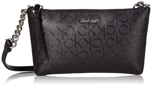 Calvin Klein Hayden Key Item Signature Top Zip Chain Crossbody, Matte Black