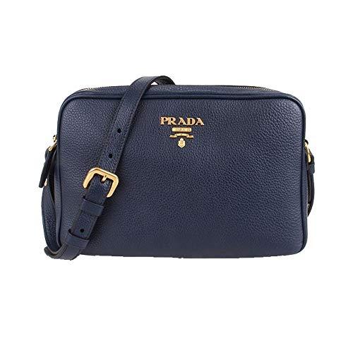 Prada Women's Navy Blue Vitello Phenix Leather Crossbody 1BH079