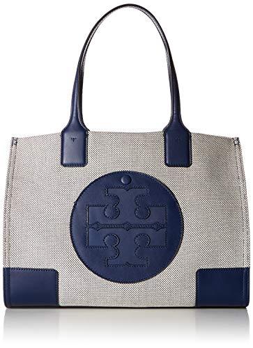 Tory Burch Women's Ella Canvas Tote Navy Handbag Mini