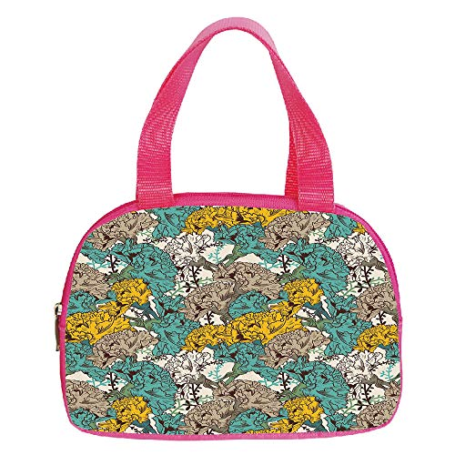 Personalized Customization Small Handbag Pink,Floral,Vintage Hand Drawn Flowers with Flourishing Carnations Environment Decorative,Earth Yellow Tan Turquoise,for Girls,Personalized Design.6.3″x9.4″x1.