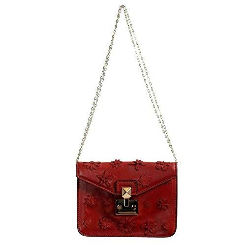 Valentino Women's Leather Red Flowers Embellished Clutch Shoulder Bag