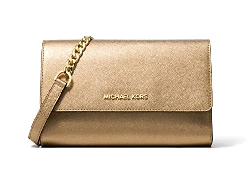Michael Kors Saffiano Leather 3-in-1 Crossbody with Removable Card Pouch – Pale Gold