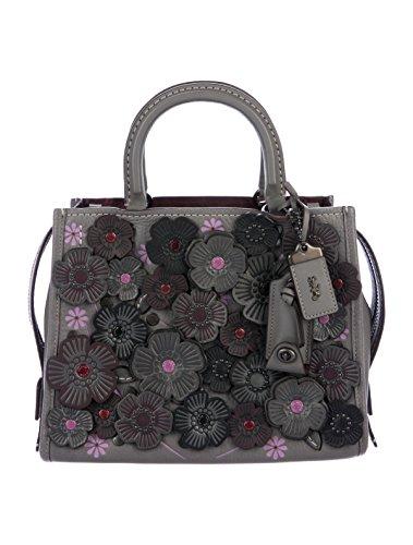 Coach 1941 Rogue 25 Applique Leather Grey Purple Handbag Bag Tea Rose Heather Grey/Black New