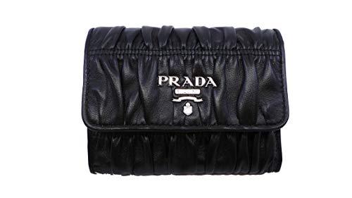 Prada Women's Black Nero Portfoglio Pattina Nappa Gaufre' Leather Wallet 1MH840