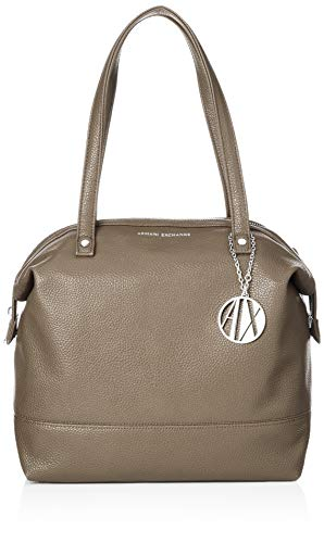 A|X Armani Exchange Pebble PU Top Zip Shoulder Bag, taupe