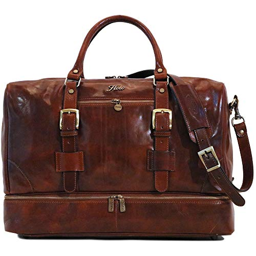 Floto Collection Drop Bottom Duffle Bag Travel Bag with Shoe Compartment