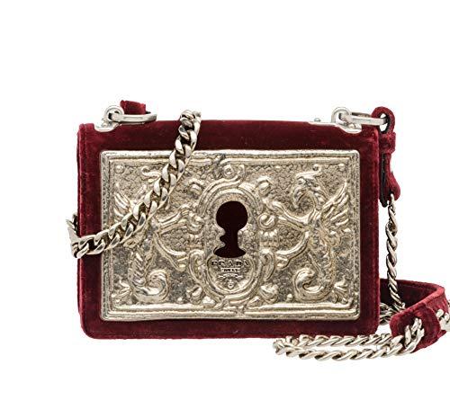 Prada Women's Cahier Small Lock Velvet Trunk Crossbody Bag Burgundy Embossed Metal Face Plate and Chain Strap 1BH018