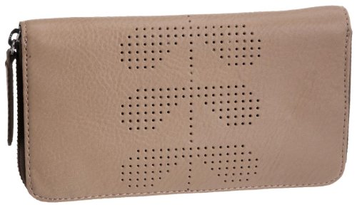 Orla Kiely Slouchy Punched Leather Big Zip Wallet Natural