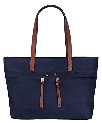 Calvin Klein Womens Burl Large Nylon Tote Handbag – Navy