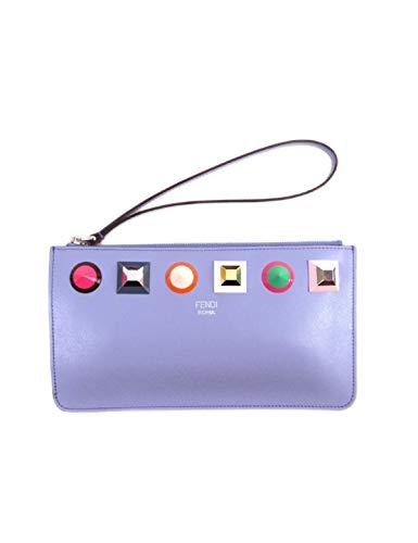 Fendi Women's Blue Leather Rainbow Stud Pouch Clutch Wristlet Bag 8M0341