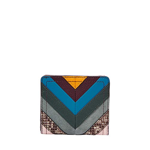Fossil RFID Logan Bifold Purple Multi, Chevron Patchwork